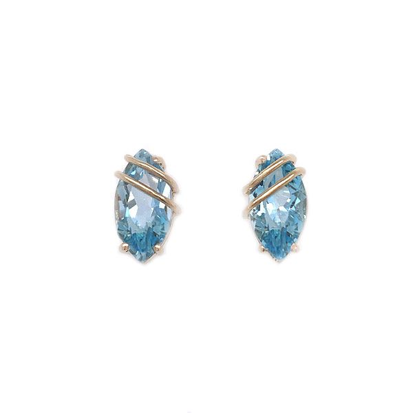 14k Yellow Gold Blue Topaz Post Earrings Dickinson Jewelers Dunkirk, MD