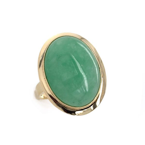 14k Yellow Gold Green Jade Ring Dickinson Jewelers Dunkirk, MD