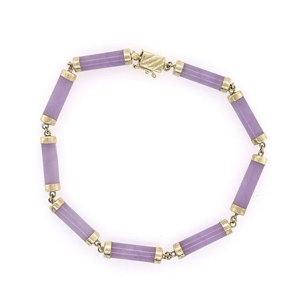 14k Yellow Gold Purple Jade Bracelet Dickinson Jewelers Dunkirk, MD