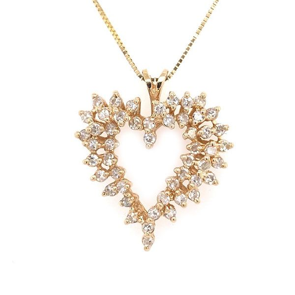 14k Yellow Gold Diamond Heart Pendant Dickinson Jewelers Dunkirk, MD