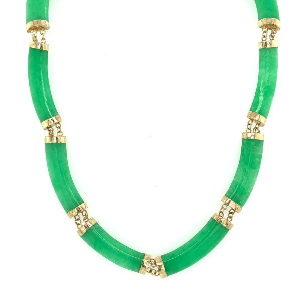 14k Yellow Gold Dark Green Jade Necklace Dickinson Jewelers Dunkirk, MD