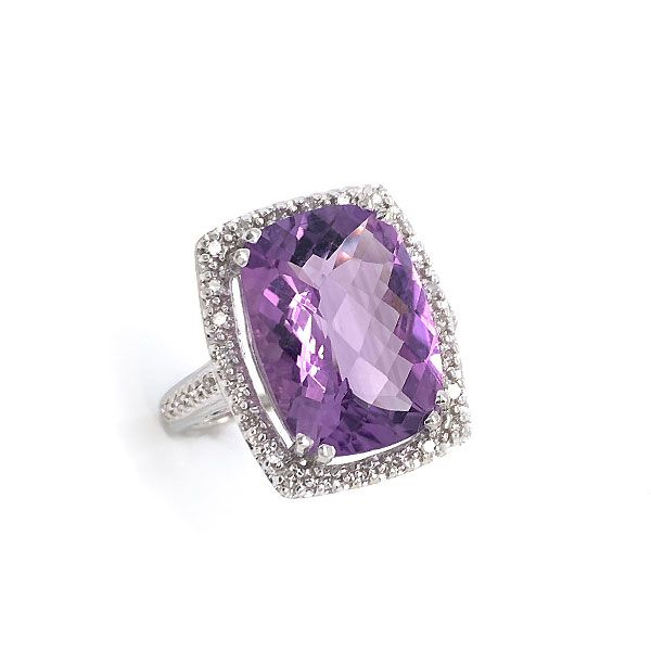 10k White Gold Amethyst Halo Ring Dickinson Jewelers Dunkirk, MD
