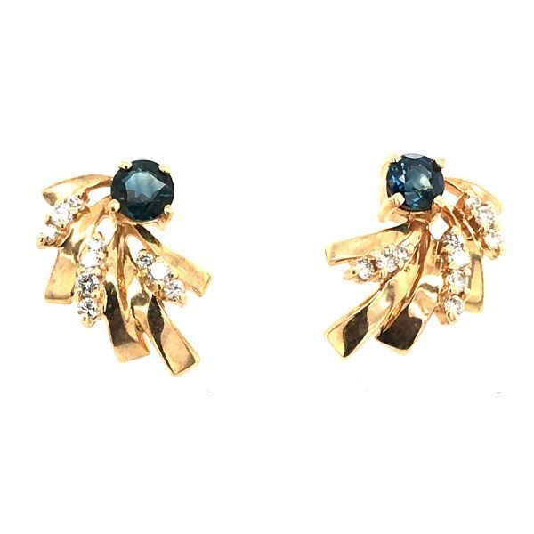 Estate 14k Gold Sapphire and Diamond Earrings Dickinson Jewelers Dunkirk, MD