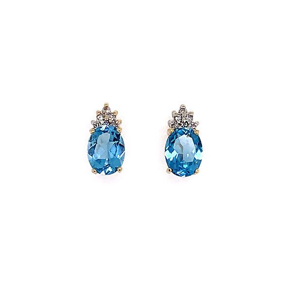 14k Yellow Gold Blue Topaz And Diamond Earrings Dickinson Jewelers Dunkirk, MD