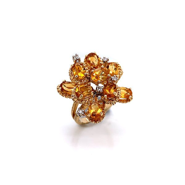 14k Yellow Gold Citrine And Diamond Cocktail Ring Dickinson Jewelers Dunkirk, MD