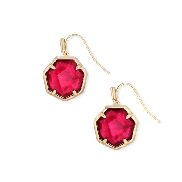 Kendra Scott Cynthia Gold Drop Earrings In Berry Illusion Dickinson Jewelers Dunkirk, MD