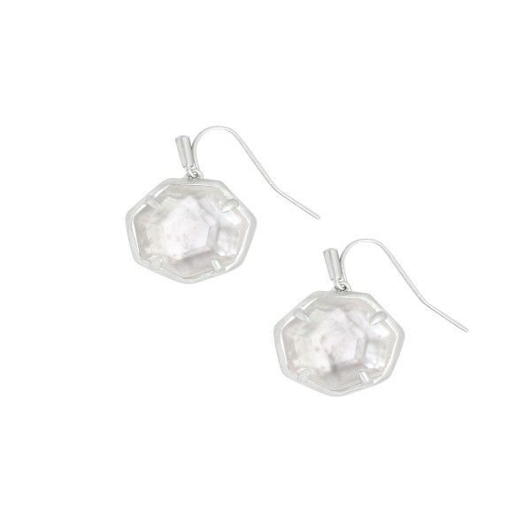 Kendra Scott Cynthia Silver Drop Earrings in Ivory Mother-of-Pearl Dickinson Jewelers Dunkirk, MD