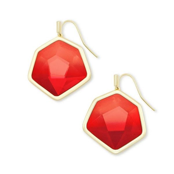 Kendra Scott Vanessa Gold Drop Earrings in Cherry Red Illusion Dickinson Jewelers Dunkirk, MD