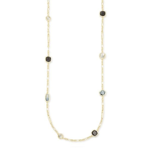 Kendra Scott Natalia Gold Long Necklace In Steel Gray Mix Dickinson Jewelers Dunkirk, MD