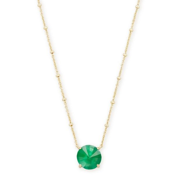 Kendra Scott Jolie Gold Short Pendant In Jade Green Illusion Dickinson Jewelers Dunkirk, MD
