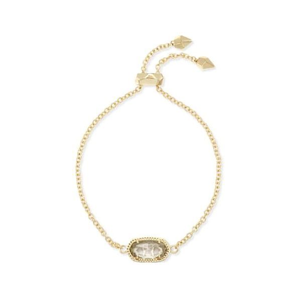 Kendra Scott Elaina Gold Adjustable Chain Bracelet In Crystal Clear Dickinson Jewelers Dunkirk, MD