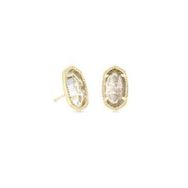 Kendra Scott Ellie Gold Stud Earrings In Crystal Clear Dickinson Jewelers Dunkirk, MD