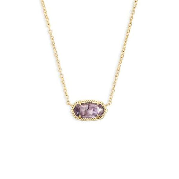 Kendra Scott Elisa Gold Short Pendant Necklace In Amethyst Dickinson Jewelers Dunkirk, MD