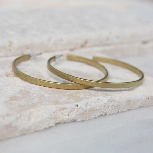 Hammered Brass Hoop Earrings Dickinson Jewelers Dunkirk, MD