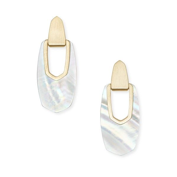 Kendra Scott Kailyn Gold Drop Earrings In  Ivory Mother-of-Pearl Dickinson Jewelers Dunkirk, MD