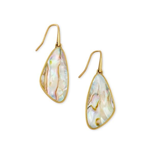 Kendra Scott Mckenna Vintage Gold Small Drop Earrings In White Abalone Dickinson Jewelers Dunkirk, MD