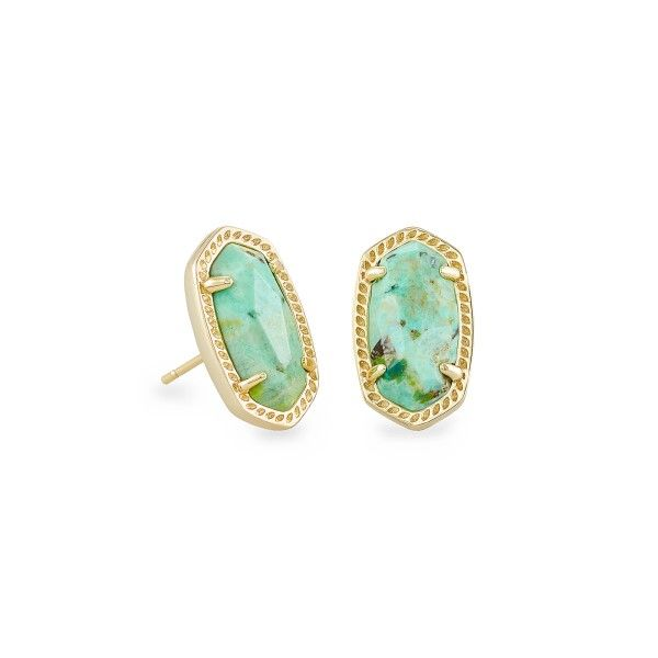 Kendra Scott Ellie Gold Stud Earrings In Sea Green Chrysocolla Dickinson Jewelers Dunkirk, MD