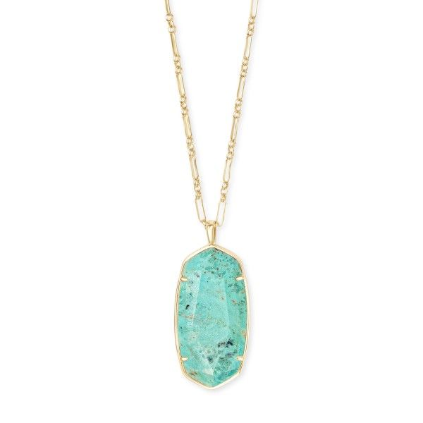 Kendra Scott Faceted Reid Gold Long Pendant Necklace In Sea Green Chrysocolla Dickinson Jewelers Dunkirk, MD