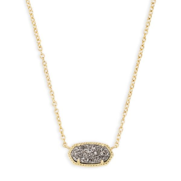 Kendra Scott Elisa Gold Pendant Necklace In Platinum Drusy Dickinson Jewelers Dunkirk, MD