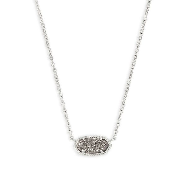 Kendra Scott Elisa Silver Pendant Necklace in Platinum Drusy Dickinson Jewelers Dunkirk, MD