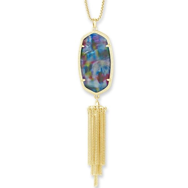Kendra Scott Rayne Gold Long Pendant Necklace In Teal Tie Dye Illusion Dickinson Jewelers Dunkirk, MD