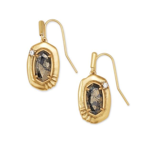 Kendra Scott Anna Vintage Gold Small Drop Earrings In Black Pyrite Dickinson Jewelers Dunkirk, MD