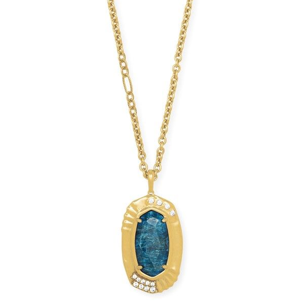Kendra Scott Anna Vintage Gold Long Pendant Necklace In Teal Apatite Dickinson Jewelers Dunkirk, MD