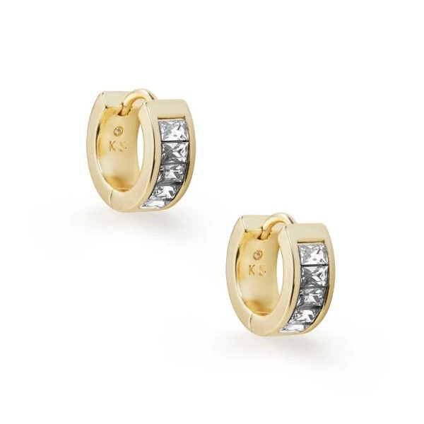 Kendra Scott Jack Gold Huggie Earrings in White Crystal Dickinson Jewelers Dunkirk, MD