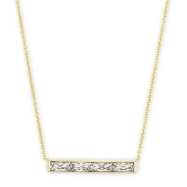 Kendra Scott Jack Gold Pendant Necklace In White Crystal Dickinson Jewelers Dunkirk, MD