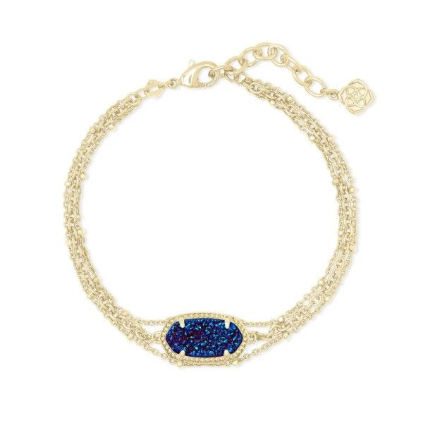 Kendra Scott Elaina Gold Multi Strand Bracelet In Indigo Blue Drusy Dickinson Jewelers Dunkirk, MD