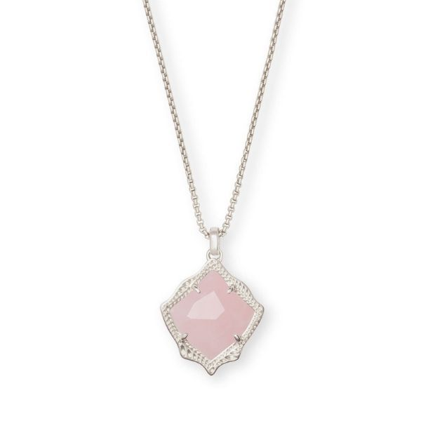 Kendra Scott Kacey Silver Long Pendant Necklace in Rose Quartz Dickinson Jewelers Dunkirk, MD