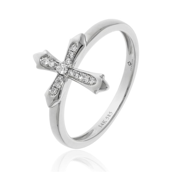 14K WHITE DIAMOND CROSS RING Dondero's Jewelry Vineland, NJ