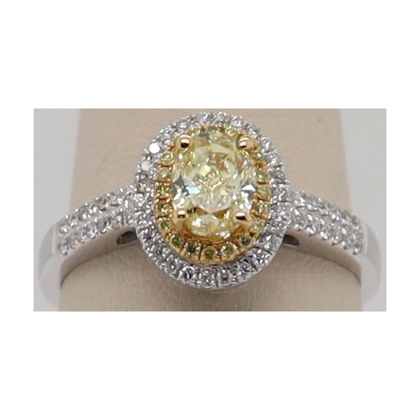 OVAL DOUBLE HALO NATURAL YELLOW DIAMOND RING Dondero's Jewelry Vineland, NJ
