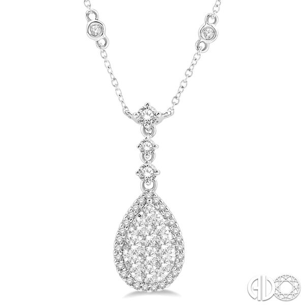 PEAR SHAPED HALO/CLUSTER DIAMOND NECKLACE Dondero's Jewelry Vineland, NJ