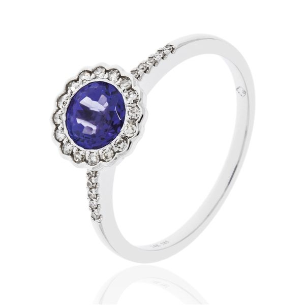 ROUND HALO TANZANITE and DIAMOND RING Dondero's Jewelry Vineland, NJ