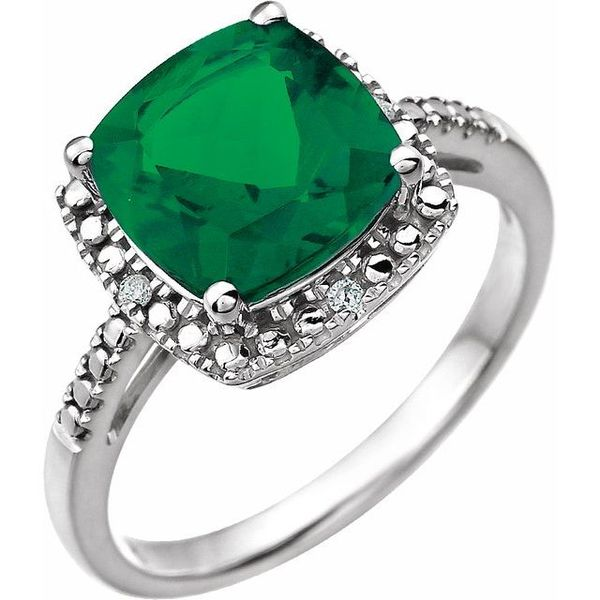 CREATED EMERALD and DIAMOND SQUARE HALO RING Dondero's Jewelry Vineland, NJ