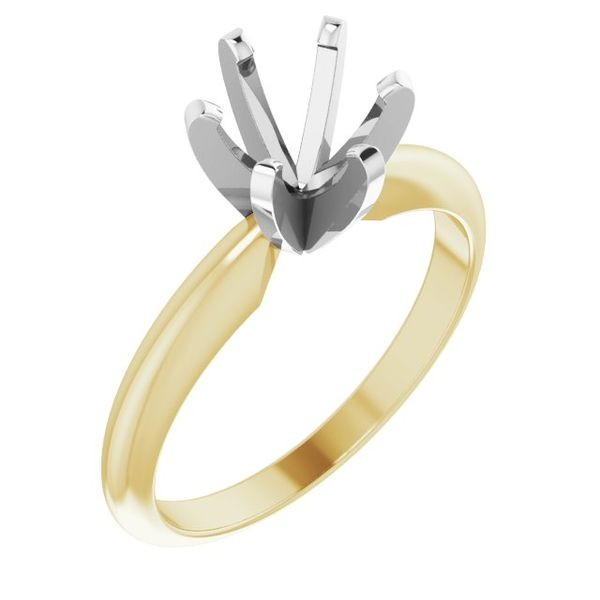 14K YELLOW/WHITE 6-6.6 MM ROUND HEAVY 6-PRONG ENGAGEMENT RING MOUNTING Dondero's Jewelry Vineland, NJ