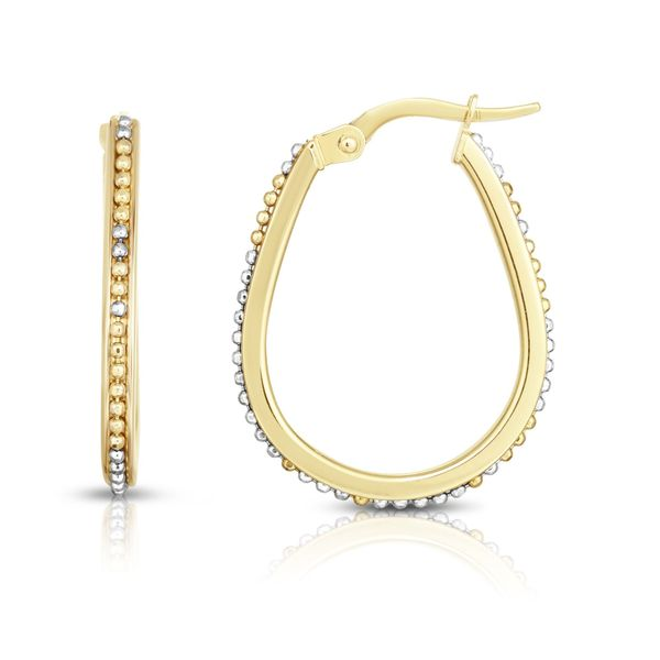 14K GOLD BEAD DESIGN HOOP EARRING Dondero's Jewelry Vineland, NJ
