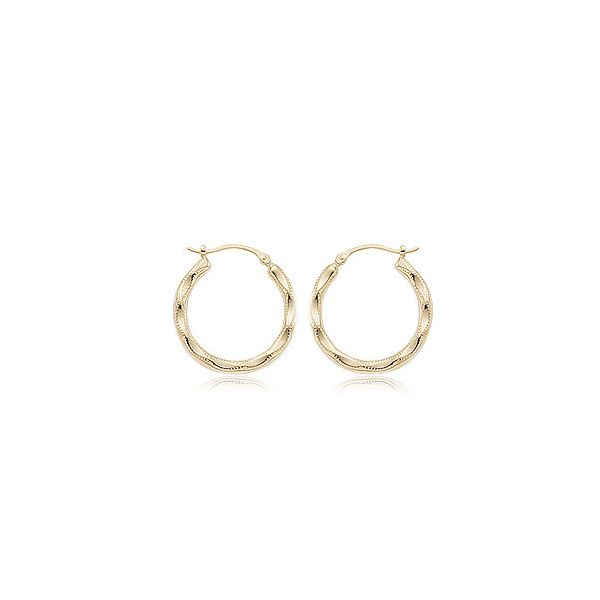 Medium Embossed Hoop Earrings Dondero's Jewelry Vineland, NJ