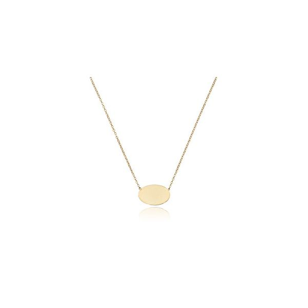 14K YELLOW GOLD 17MM OVAL DISC PENDANT WITH ADJUSTABLE CHAIN 18