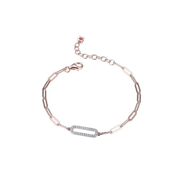ELLE STERLING SILVER BRACELET MADE OF PAPERCLIP CHAIN (3MM) AND CZ LINK (18X6MM) IN CENTER Dondero's Jewelry Vineland, NJ