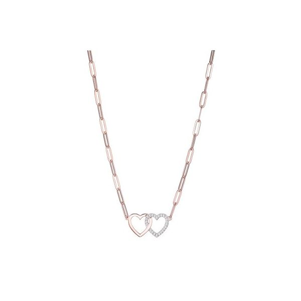 ELLE  DOUBLE HEART PAPERCLIP LINK NECKLACE Dondero's Jewelry Vineland, NJ