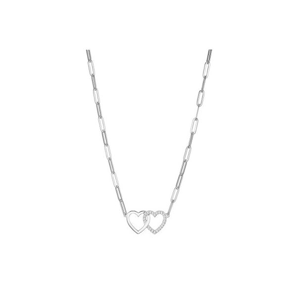 ELLE DOUBLE HEART/PAPERCLIP LINK NECKLACE Dondero's Jewelry Vineland, NJ