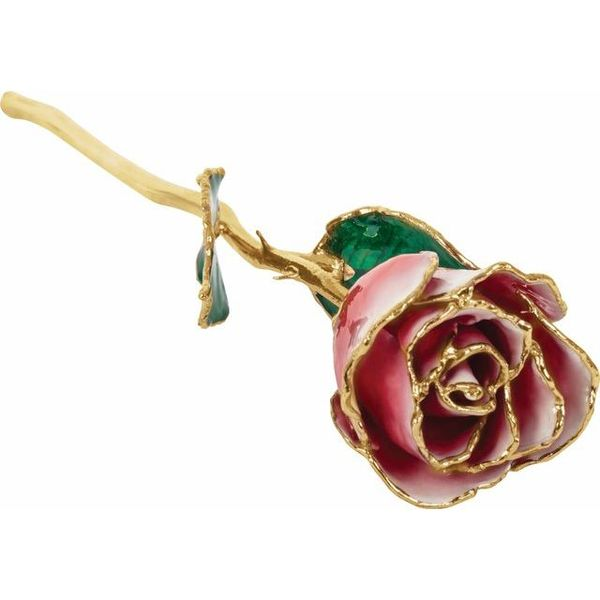 LACQUERED FROZEN WHITE & RED ROSE WITH GOLD TRIM Dondero's Jewelry Vineland, NJ