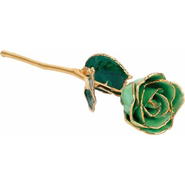 LACQUERED AUGUST/PERIDOT COLORED ROSE WITH GOLD TRIM Dondero's Jewelry Vineland, NJ