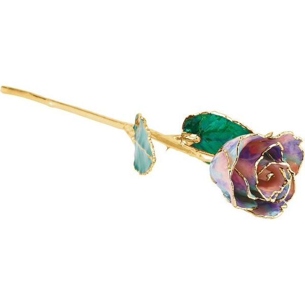 LACQUERED OCTOBER OPAL COLORED ROSE WITH GOLD TRIM Dondero's Jewelry Vineland, NJ