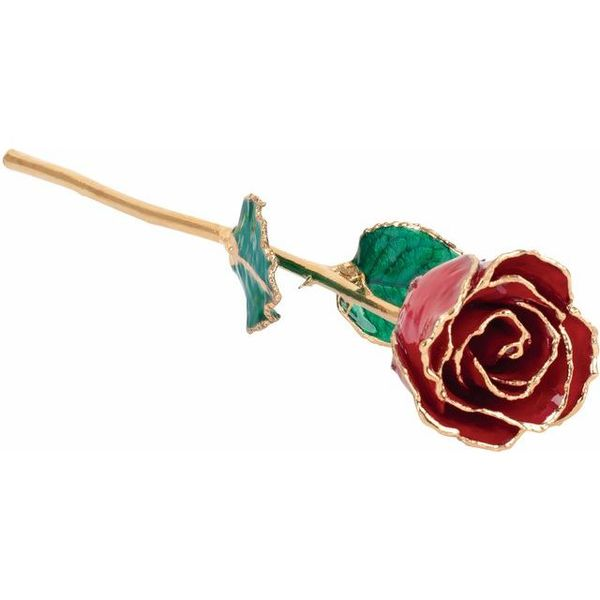 LACQUERED JULY/ RUBY COLORED ROSE WITH GOLD TRIM Dondero's Jewelry Vineland, NJ