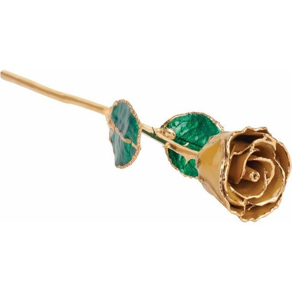 LACQUERED NOVEMBER/ YELLOW TOPAZ COLORED ROSE WITH GOLD TRIM Dondero's Jewelry Vineland, NJ