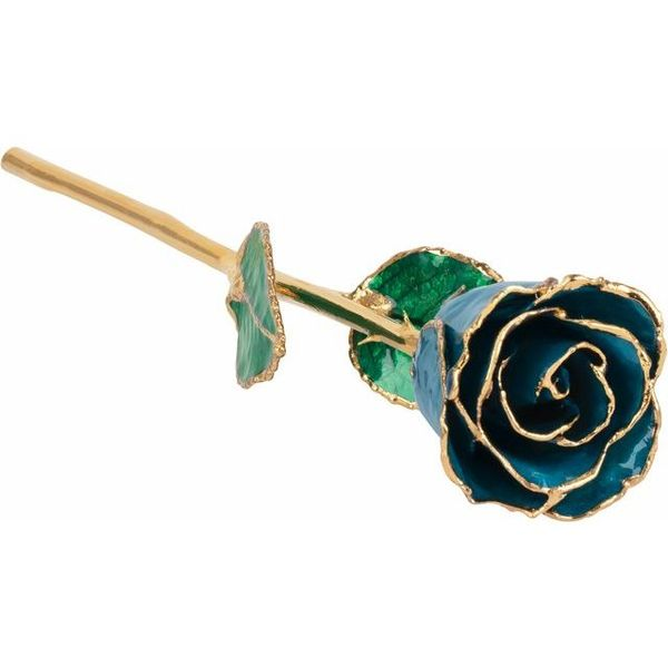 LACQUERED DECEMBER/ BLUE ZIRCON COLORED ROSE WITH GOLD TRIM Dondero's Jewelry Vineland, NJ