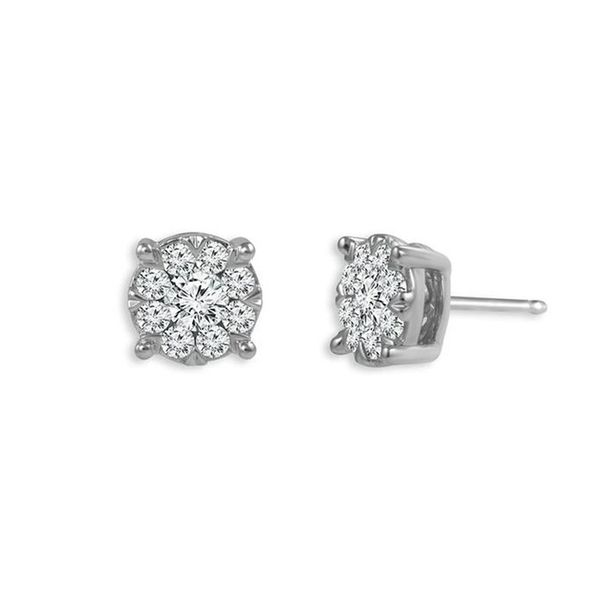 14kt White Gold Cluster Diamond Stud Earrings Don's Jewelry & Design Washington, IA